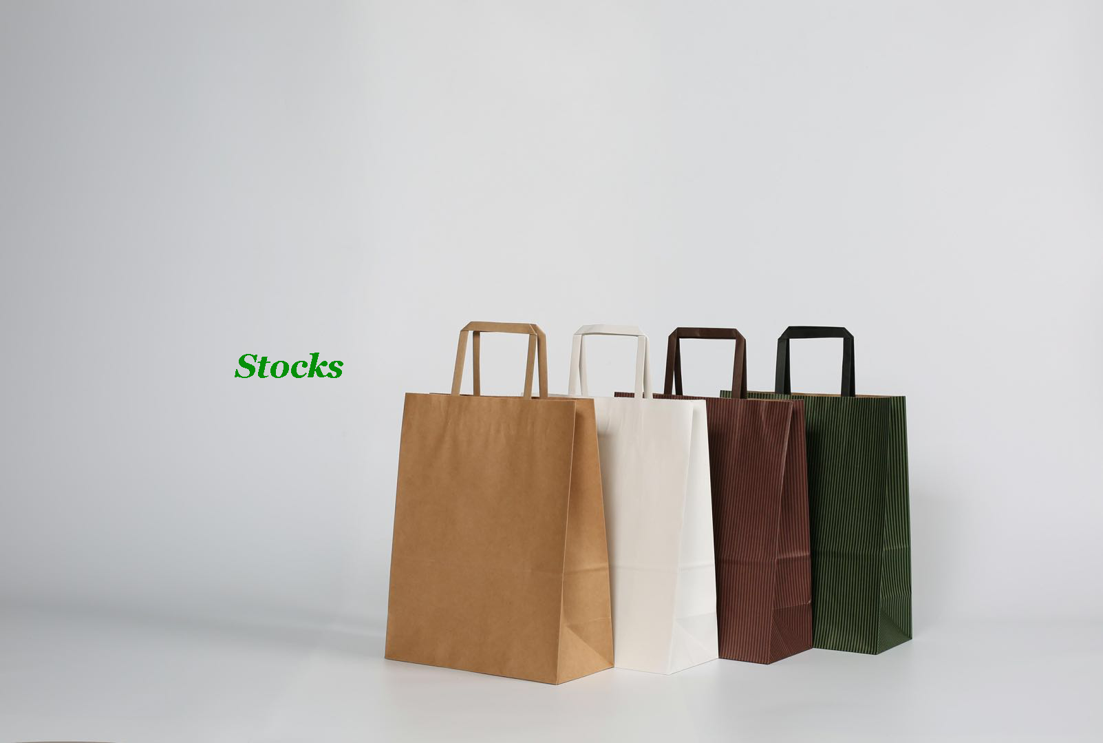 Large Stocked Streaked Kraft Paper Carrier Bags With Flat Handle