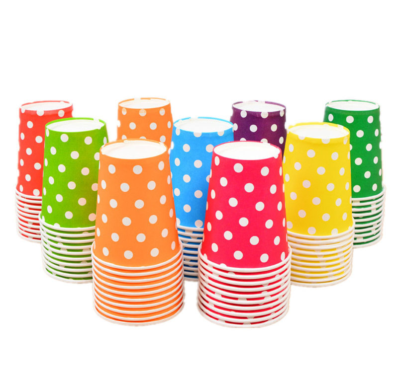 set Multicolor Round Dots-Paper-Cup-Disposable Tableware For Kids Birthday Party Wedding Food Grade