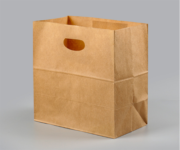 Natrual Brown kraft paper food bags with die cut handle